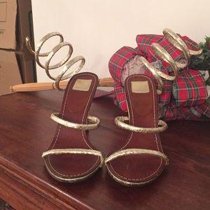 NWOT Dolce Vita gold foil strapped heels